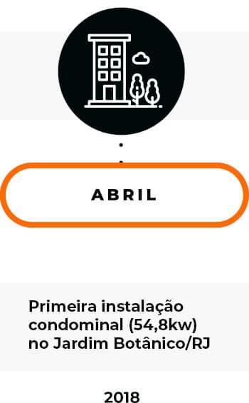 Abril/2018 - Primeira instalação condominial (54,8kW) no Jardim Botânico/RJ